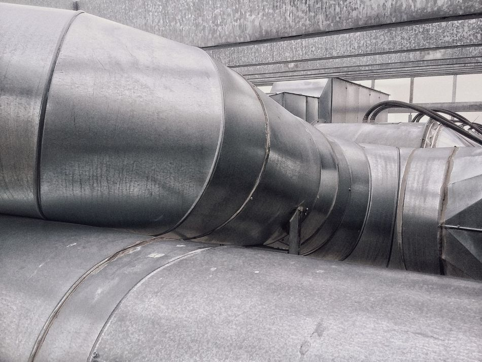 Infrastructure Grey Metal Pipes Air Air Pipe Industry Black And White No People Modern