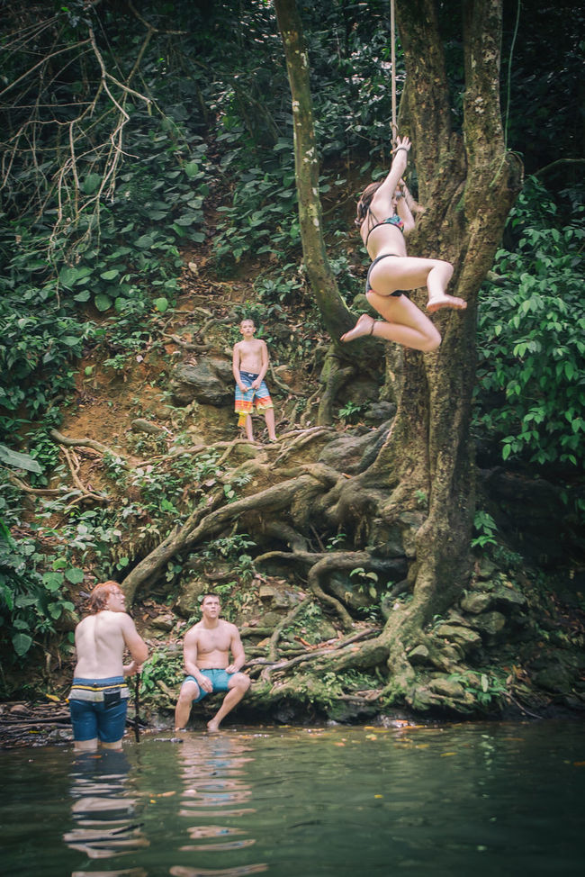 Rope Swing Costa Rica Rainforest Waterhole Kids Playing Having Fun Swinging From A Tree Outdoor Activity Check This Out Cooling Off Enjoying Life Friends The Great Outdoors - 2016 EyeEm Awards