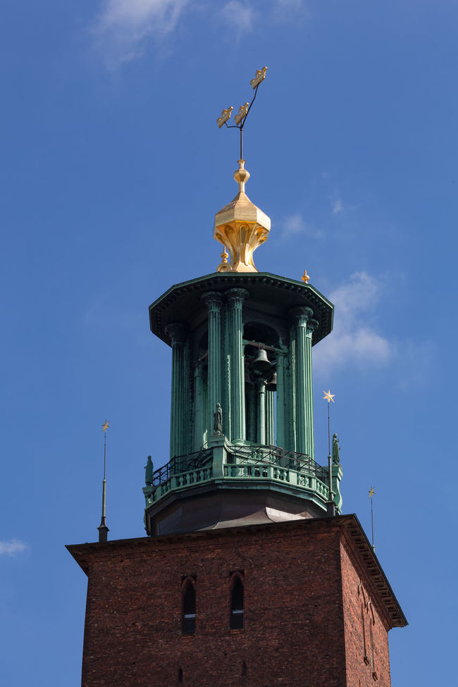 Stockholm, Sweden - Aug 24, 2016 : View of the Stockholm's City Hall Tower with the iconic symbol of the three crowns. Three Crowns is a national emblem of Sweden. Architecture City Hall Cityhall Europe No People Nordic Countries Scandinavia Stockholm Stockholm, Sweden Sweden Tower