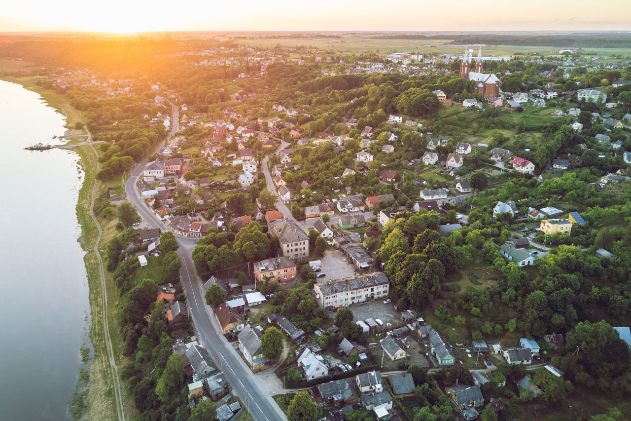 Vilkija, Lithuania. Summer Sunset Aerial View Architecture Building Exterior Built Structure City Cityscape Community Day Drone  Horizon Over Water Landscape Mavic Mavic Pro Nature No People Outdoors Residential  Sea Sky Small City Town Tree Vilkija Village Water