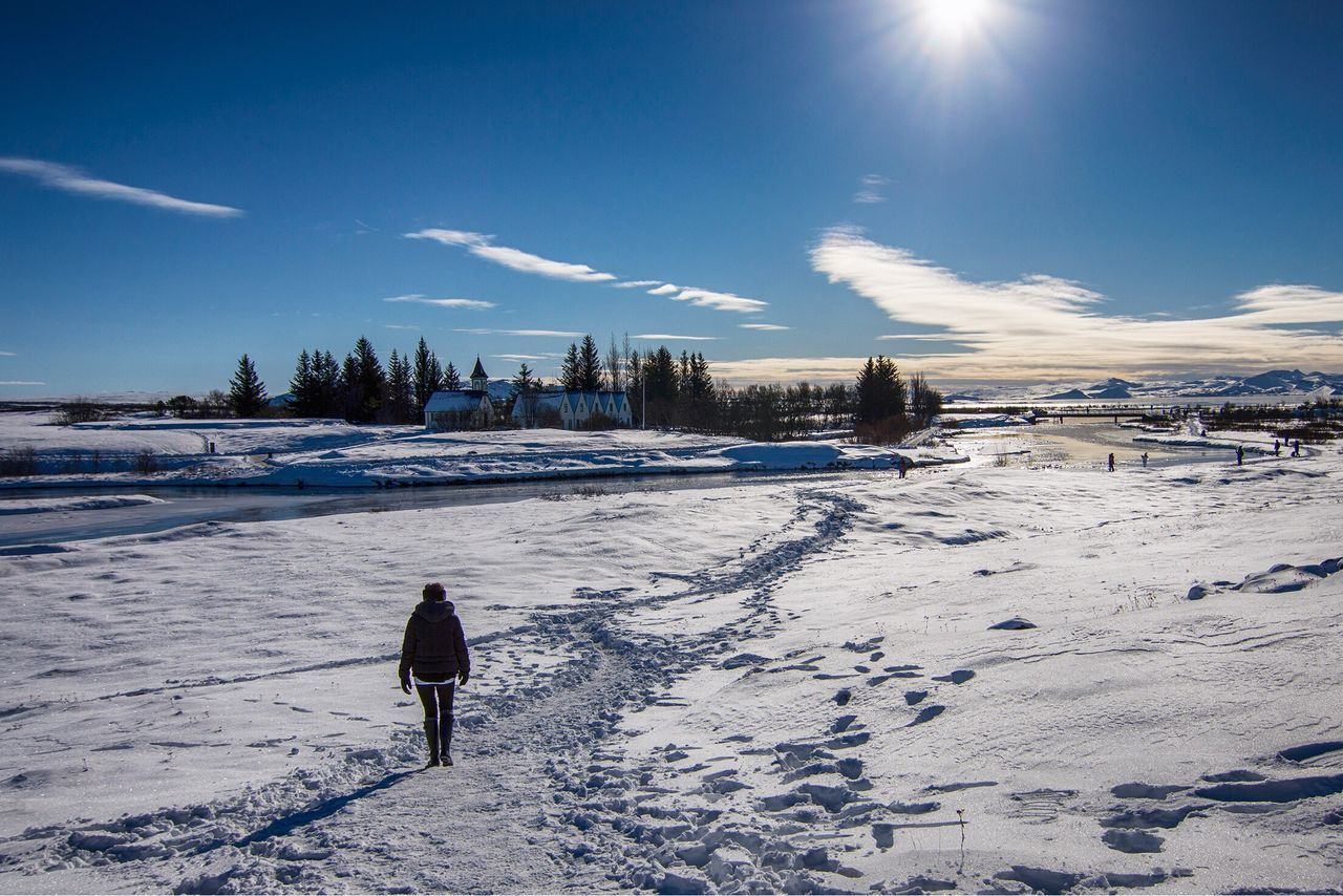 Snow Winter Cold Temperature Sunlight Nature Sky Weather Ski Holiday Skiing Ski Track Leisure Activity Beauty In Nature One Person Lifestyles Day Outdoors Scenics Real People Landscape Iceland Thingvellir National Park