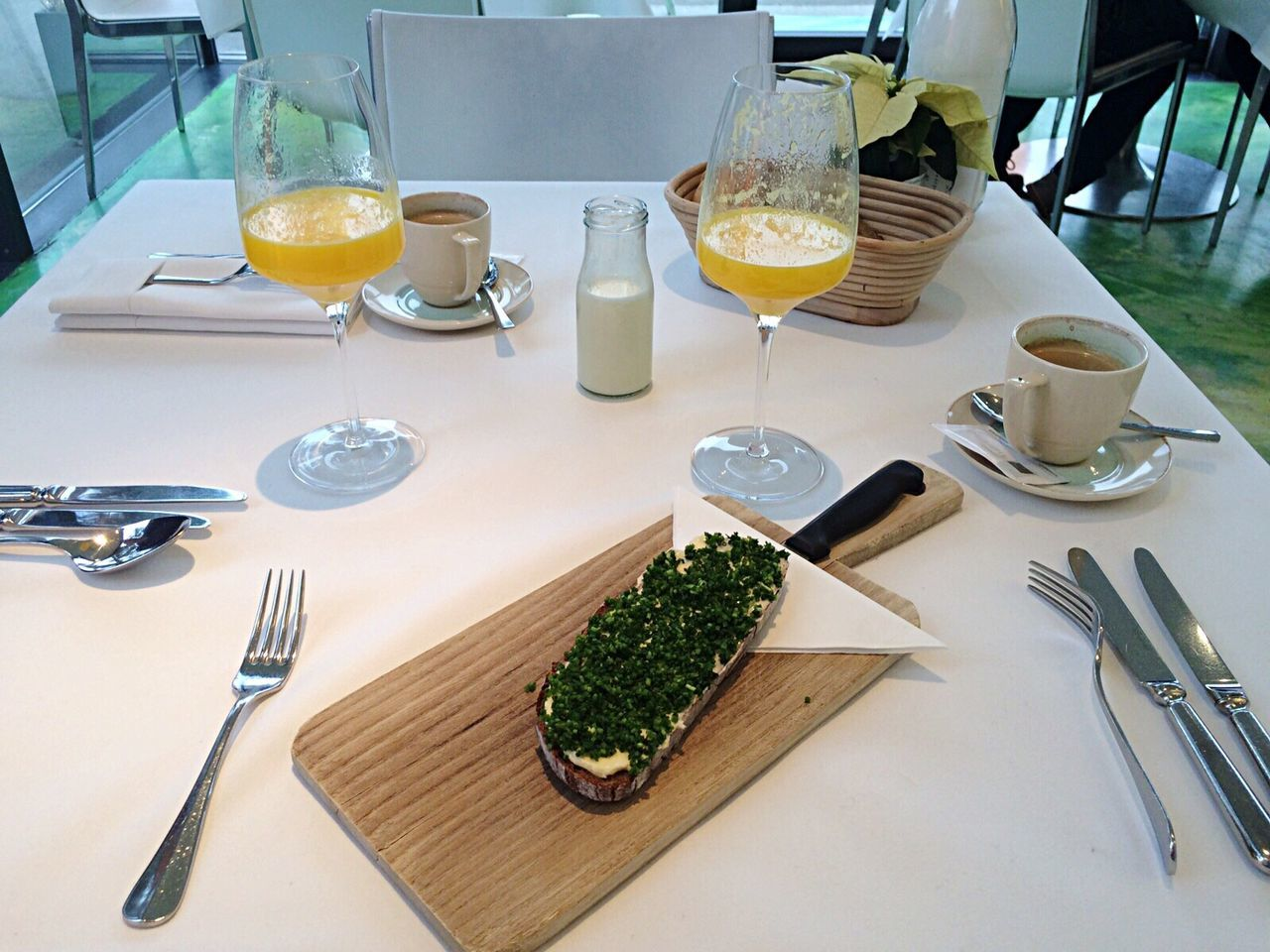 table, food and drink, fork, drinking glass, indoors, freshness, plate, no people, high angle view, refreshment, healthy eating, drink, food, close-up, day