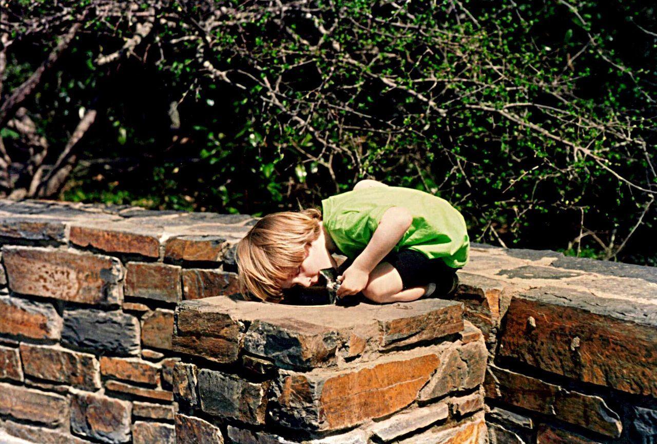 Childhood Boys Outdoors Children Only Adventure Duke Gardens Duke Stone Water Fountain. Thirsty