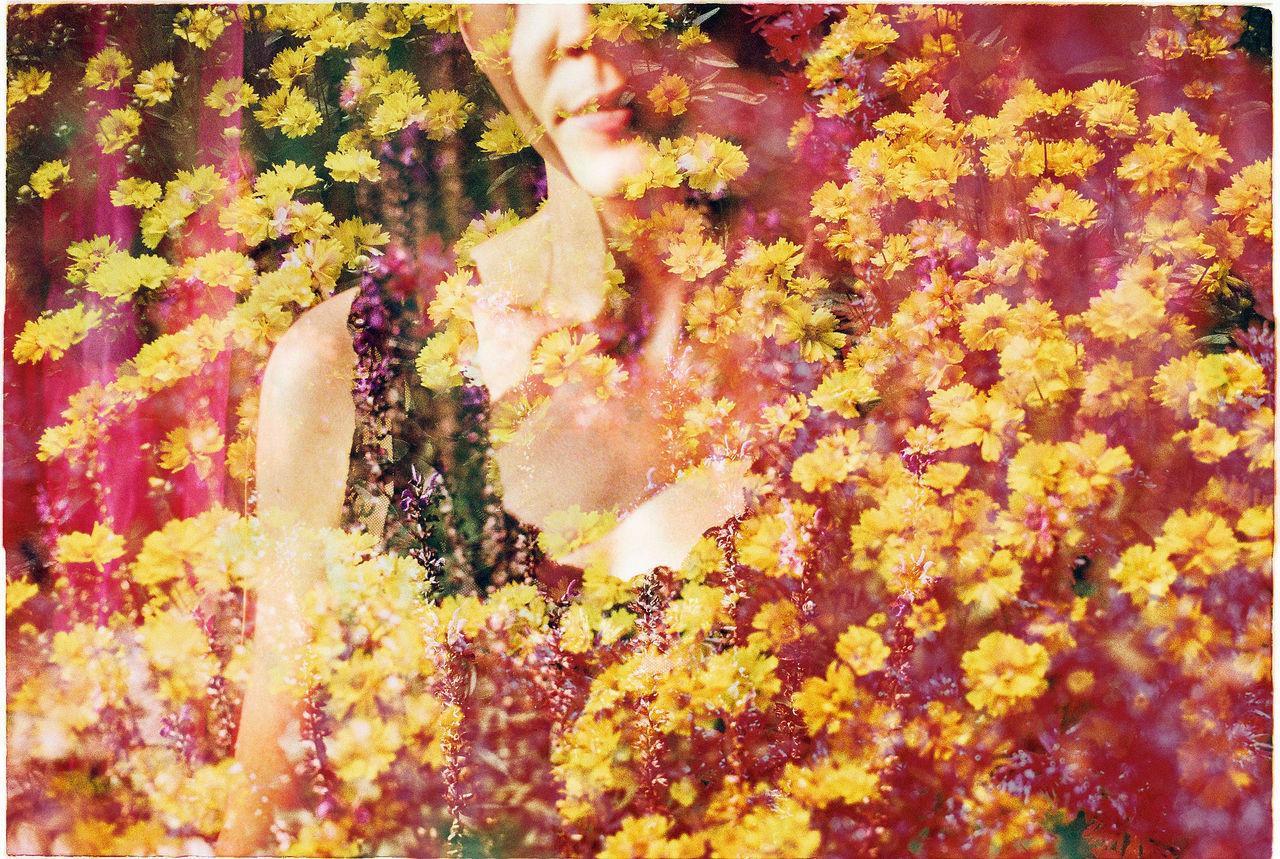 Analog Analog Photography Analogue Photography Double Exposure Flowers Lips Mood Portrait Portrait Of A Woman Retro Summer Summertime Warm Warm Colors Woman