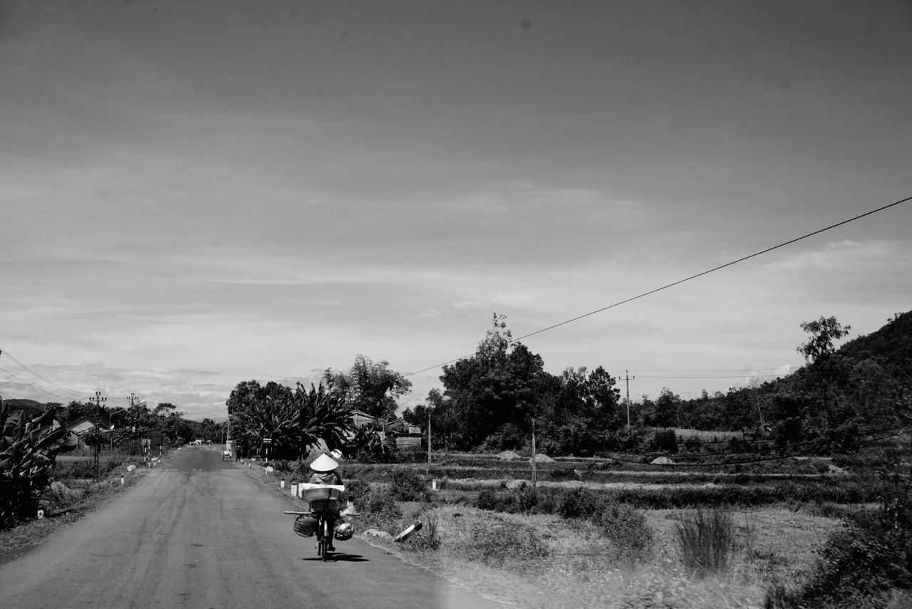 Journey Vietnam Rural Farmland Local Cropsfield Blackandwhite Lifestyle Motorbike Road Journey Alone Shadow Straight Focus Ground Overhead Cables Trees Marginal Miles Away Danang, Vietnam