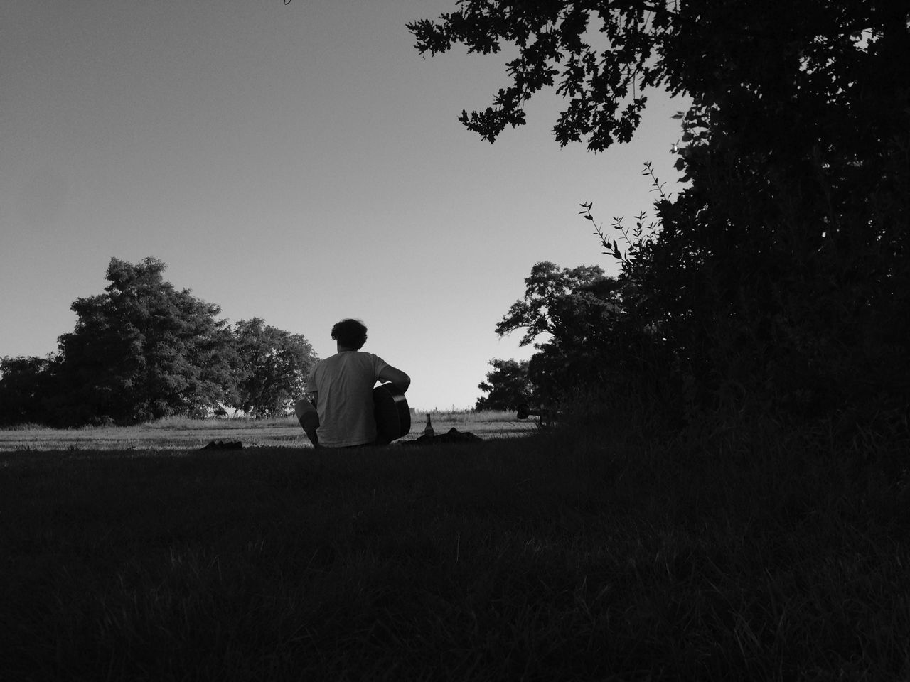 Berlin Photography One Person Real People Tranquil Scene Tree Rear View Sky Guitar Nature Airport Tempelhofer Feld