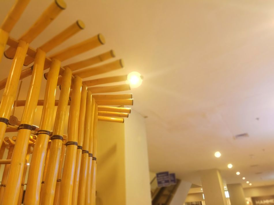 Architecture Low Angle View No People Built Structure Indoors  Yellow Architectural Column Night Close-up Bamboo Art Bamboodesign Bamboo Shoots