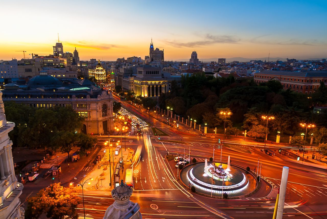 Madrid & Cibeles Architecture Building Exterior Built Structure Cibeles City City Life Cityscape High Angle View Illuminated Light Trail Long Exposure Madrid Motion No People Outdoors Road Sky SPAIN Speed Street Light Sunset Traffic Transportation Tree Urban Skyline