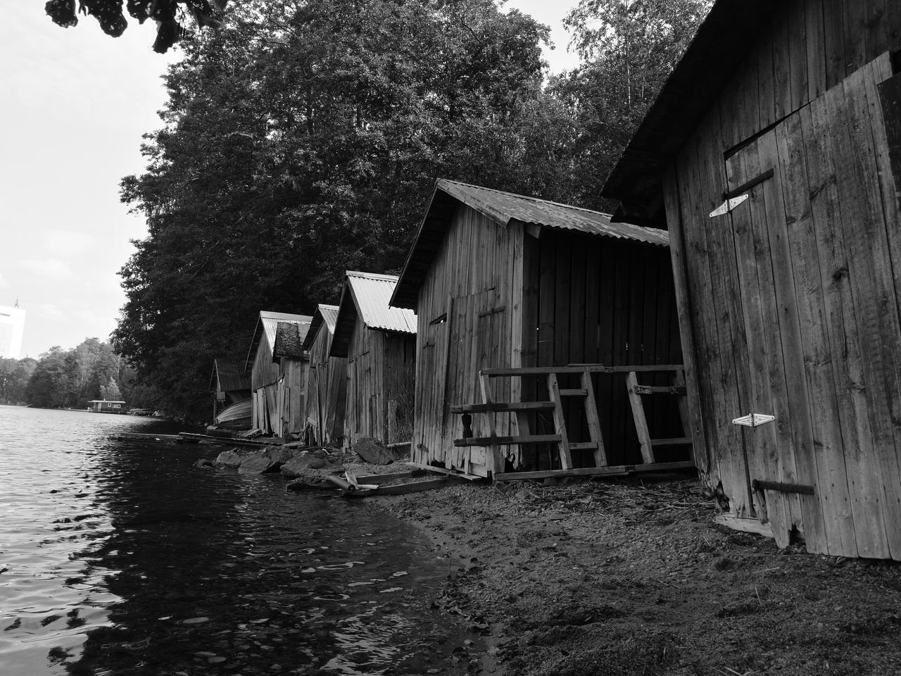 boat sheds in Finland Purist No Edit No Filter HuaweiP9 Smartphone Photography Black & White Black And White Photography Walking In The Forest Noedit Nofilter Finland Lake Boathouse Row Monochrome Photography
