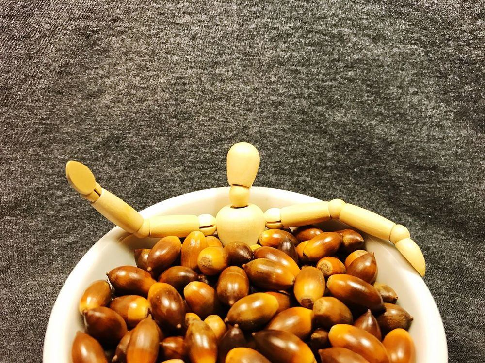 Jump on in, the acorns feel fine. Spontaneous Bathing Unwind Free Spirited Acorns Model Silly Impulsive Bath Time Manikin Figure Relaxing Waving Chilaxing  Chilling Unusual Activity Random Idea Jacuzzi  Spa Tub Creativity Refreshing Soaking