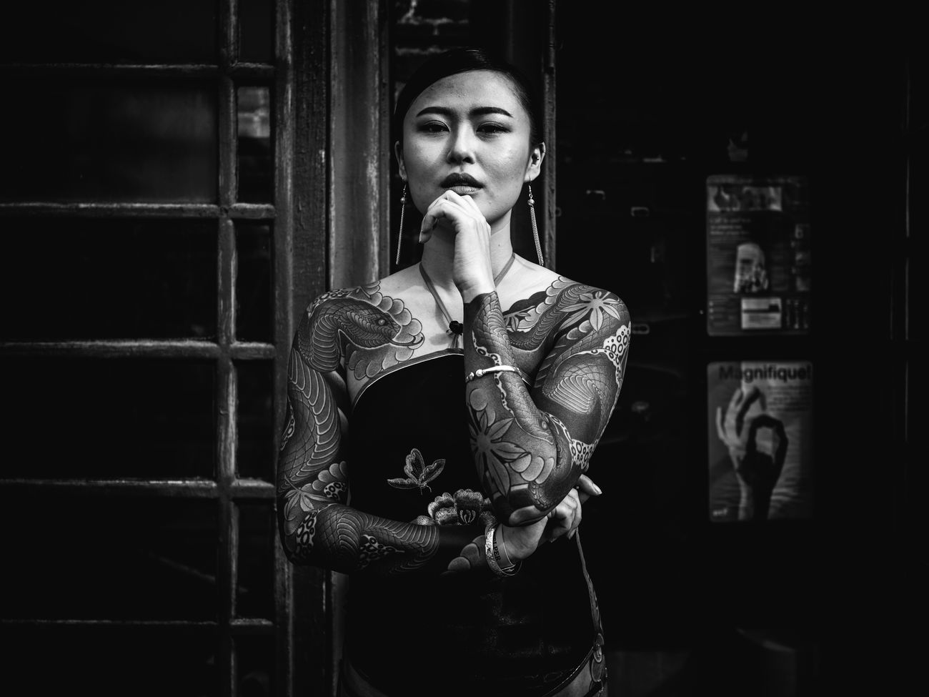 Girl with the Dragon Tattoo Rawstreets Streetlife Black And White Photography Street Portraiture Stranger Cıty Maxgor London Olympus Pen-f Lifestyles 35mmStreet Photography Maxgor.com City Candid London Lifestyle Prime Lens Portrait LTC London Tattoo Tattoo Women The Week On EyeEm Art Is Everywhere The Portraitist - 2017 EyeEm Awards