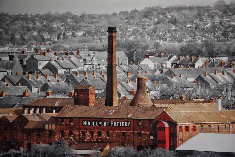 Middleport Pottery Architecture Building Exterior Built Structure City Cityscape Cold Temperature Day House Middleport Pottery Mountain No People Outdoors Residential Building Roof Smoke Stack Town Winter