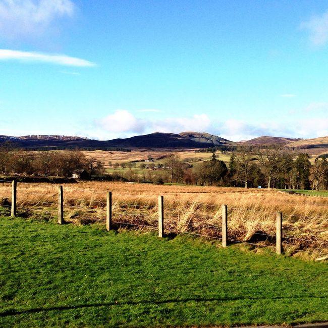 Landscape Blue Sky Nature Sun Sky Summer Fence Scotland Sunset Mountains Green Clouds Clouds And Sky Blue