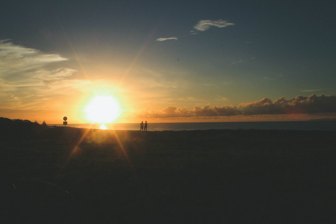 romantic sunrise and couple Beach Beauty In Nature Day Horizon Over Water Lens Flare Nature No People Outdoors Scenics Sea Silhouette Sky Sun Sunbeam Sunlight Sunset Tranquil Scene Tranquility Water