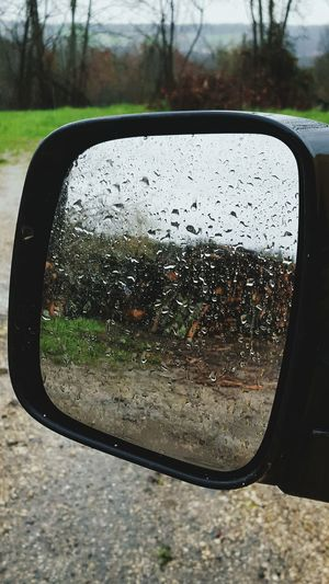 Rearview Retrovisor Waterdrops Rain Drops Landscape Woods France In My Car