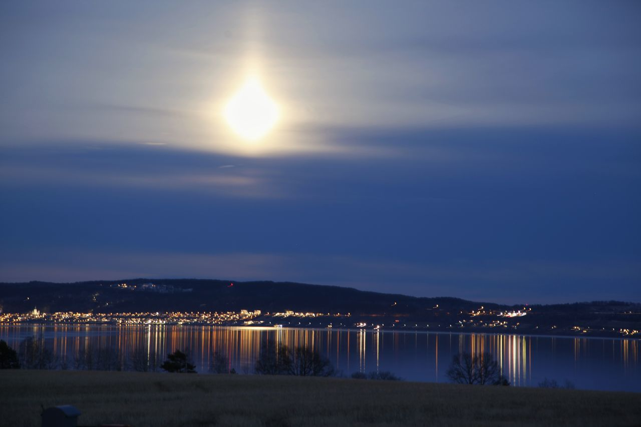 Night Sky Landscape Lake View Water Reflection Nature Gränna Cityscape Outdoors