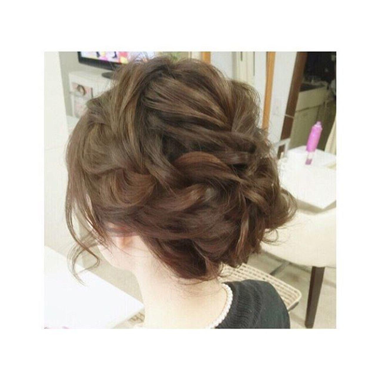 肩につかないボフのお客様♡ アップに出来ます♪ ヘアアレンジ ヘアセット Hair ゼット 美容 セットサロン 錦 編み込み ルーズ ショート