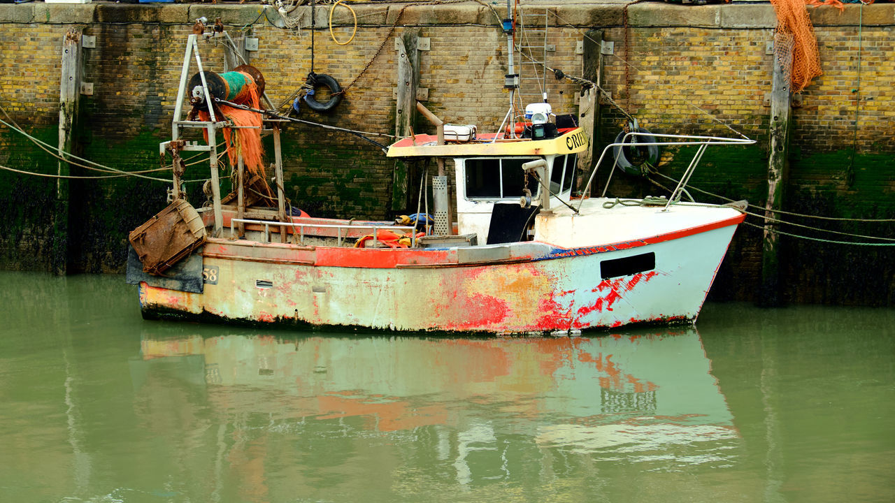 Fishing boat in Whitstable England - Boat Day Dock Fishing Moored Nature Nautical Vessel No People Outdoors Port Rusty Sailing Sea Ship Water Waterfront