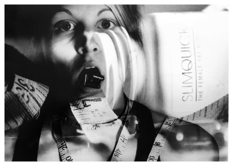 """Obsessions 2. From my series of 12 photos, entitled """"Addictions, Obsessions, Compulsions"""". Shot on Kodak TMax 100 on my Canon EOS Rebel K2. Conceptual Photography  Conceptual Image Sandwiched Negatives Double Exposure Film Photography Dying To Be Thin Obsessions Conceptual Self Portrait Anorexia Story Photography Contrast Blackandwhitephotography B&W_collection Cindy Sherman Inspired By Cindy Sherman"""