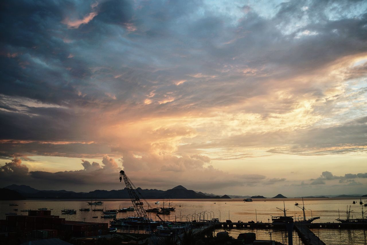Labuan Bajo sunsets Labuan Bajo Nusa Tenggara Barat INDONESIA Komodo National Park Southeastasia Sunset Sun Evening Orange Sky Colorful Seaside Nautical Vessel Tranquil Scene Scenics Boat Harbor Cloud - Sky Sea Traveling