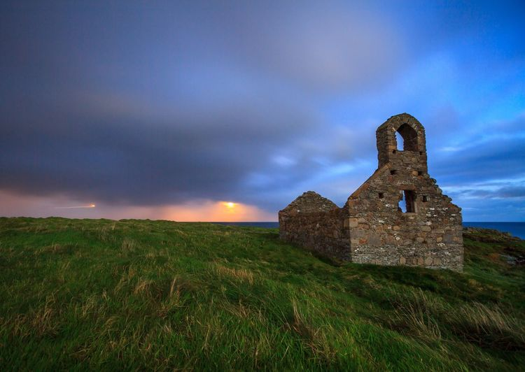 An experimental 30 sec exposure produced this beautiful photo. History Architecture Grass Night Nature Outdoors Ancient Travel Destinations Isle Of Man Landscape Fort Island St Michael's Island Long Exposure Nightphotography Church Stone Wall Moonlight Lost In The Landscape