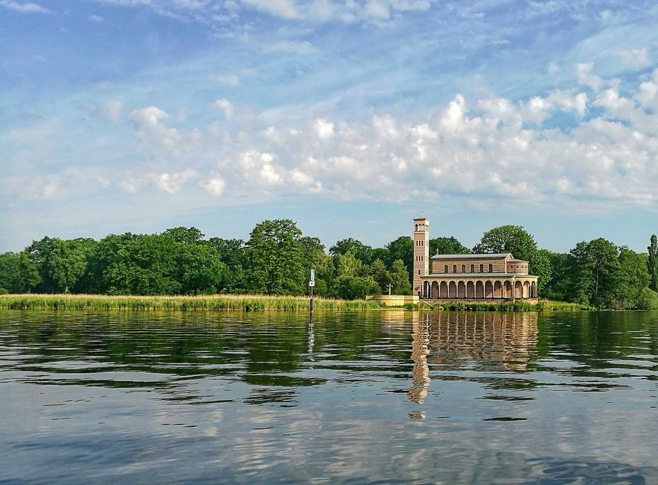 Heilandskirche am Port von Sacrow by Potsdam . Chirch On River Havel Jungfernsee World Heritage Persius King Of Prussia Water Waterfront Tranquil Scene Havelland Germany Tree Built Structure Architecture Scenics Campanile Reflection Sky Blue Ludwig Persius