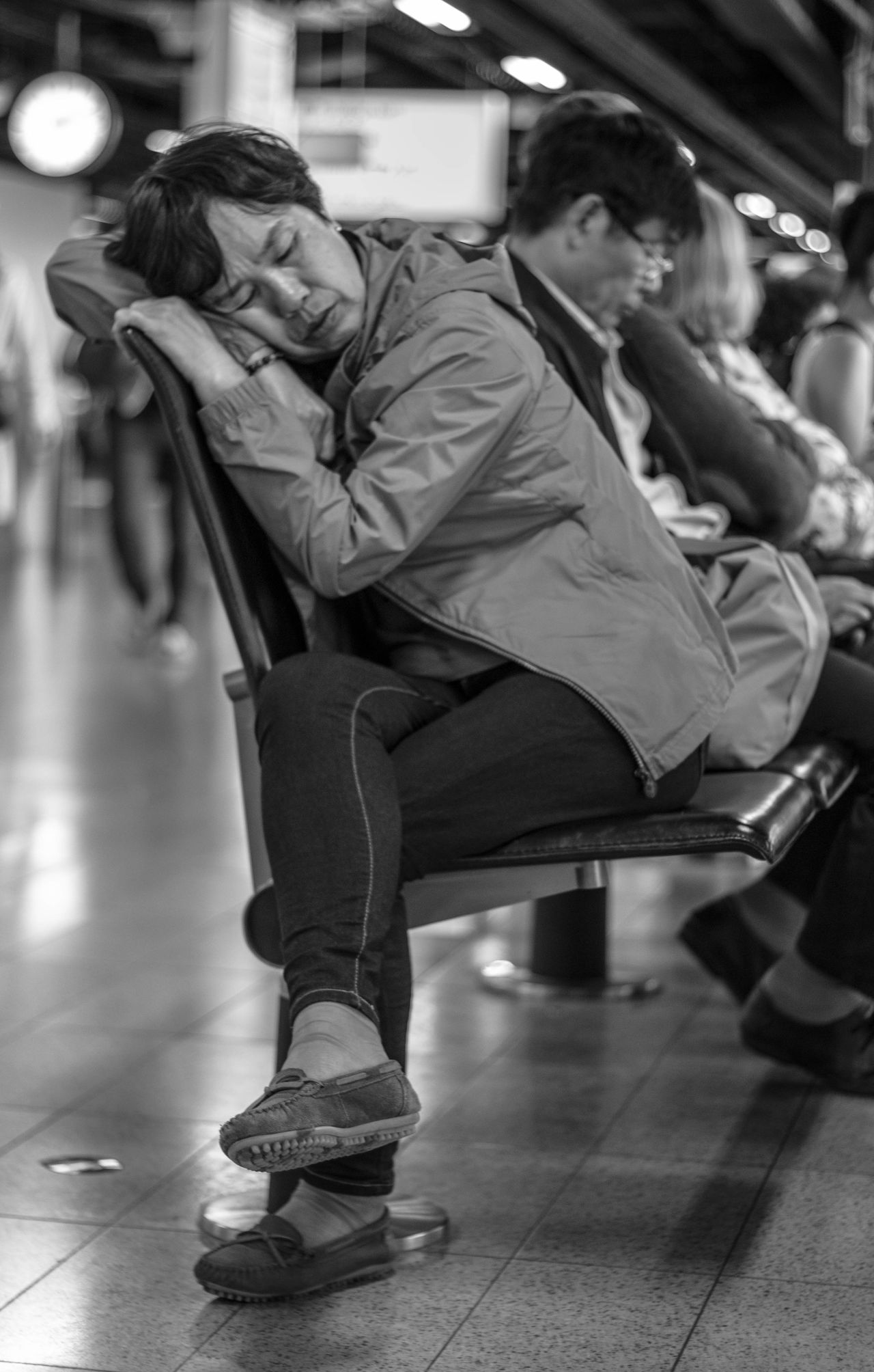 Black & White Black And White Blackandwhite Blackandwhite Photography Delay Flight Lifestyles People Photography Person Real People Sleeping Streetphoto_bw Streetphotography Waiting Waiting ...