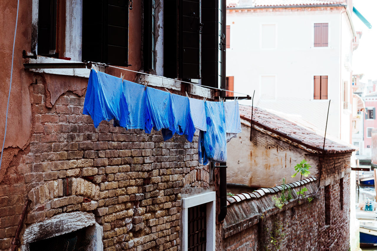 blue things Architecture Balcony Building Building Exterior Built Structure Clothesline Day Drying Hanging House Laundry No People Outdoors Residential Building Threedaysvenice Travel Travel Destinations Venice Window