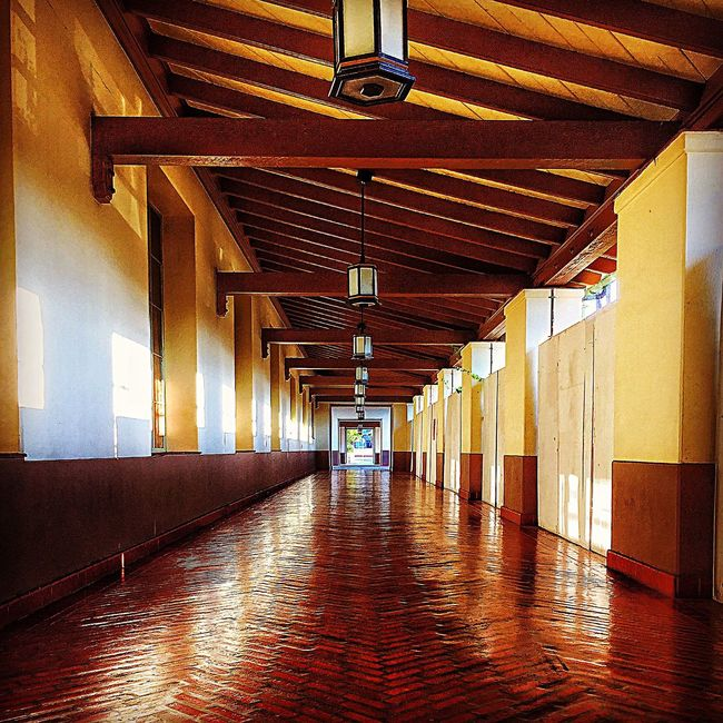 Corridor Architecture Diminishing Perspective Narrow Architectural Feature Historical Building Art Deco Lighting Equipment Indoors  Ceiling Illuminated Built Structure The Way Forward EyeEm Travel Photography Losangeles EyeEm Gallery Awesome_shots Empty Flooring Wall In A Row Lantern Electric Light Hardwood Floor Long
