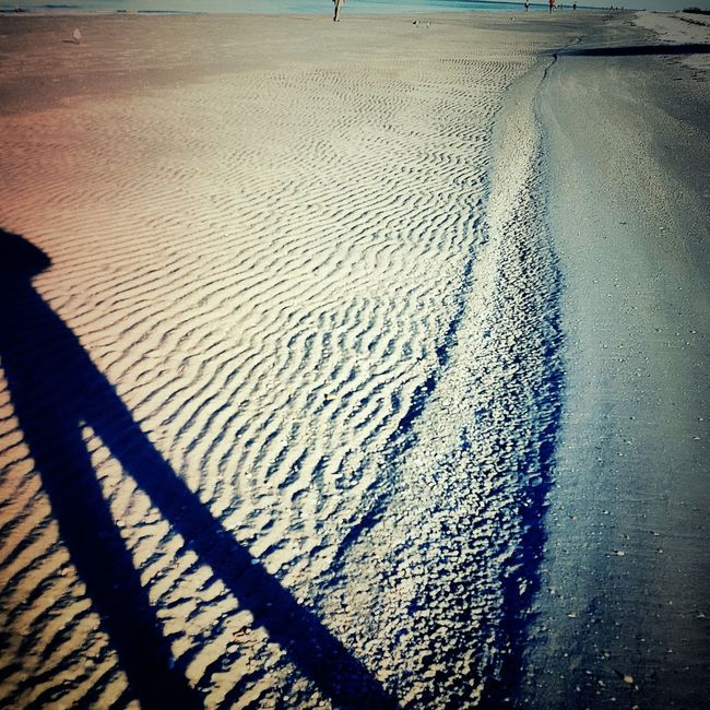 Early morning beach walks are so relaxing!!! Beach Sand Sandripples Shadow Myshadow Nature Sandy Beach Saltlife Florida Life Untouched Better Look Twice