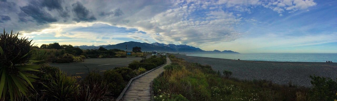 Sea Beauty In Nature Mountain Scenics Cloud - Sky Nature Outdoors The Way Forward Grass No People Sky Day New Zealand Beauty New Zealand Kaikoura 2016 before the Earthquake Beauty In Nature Beautiful Dusk Pathway Personal Perspective Perpective Pebbles On A Beach