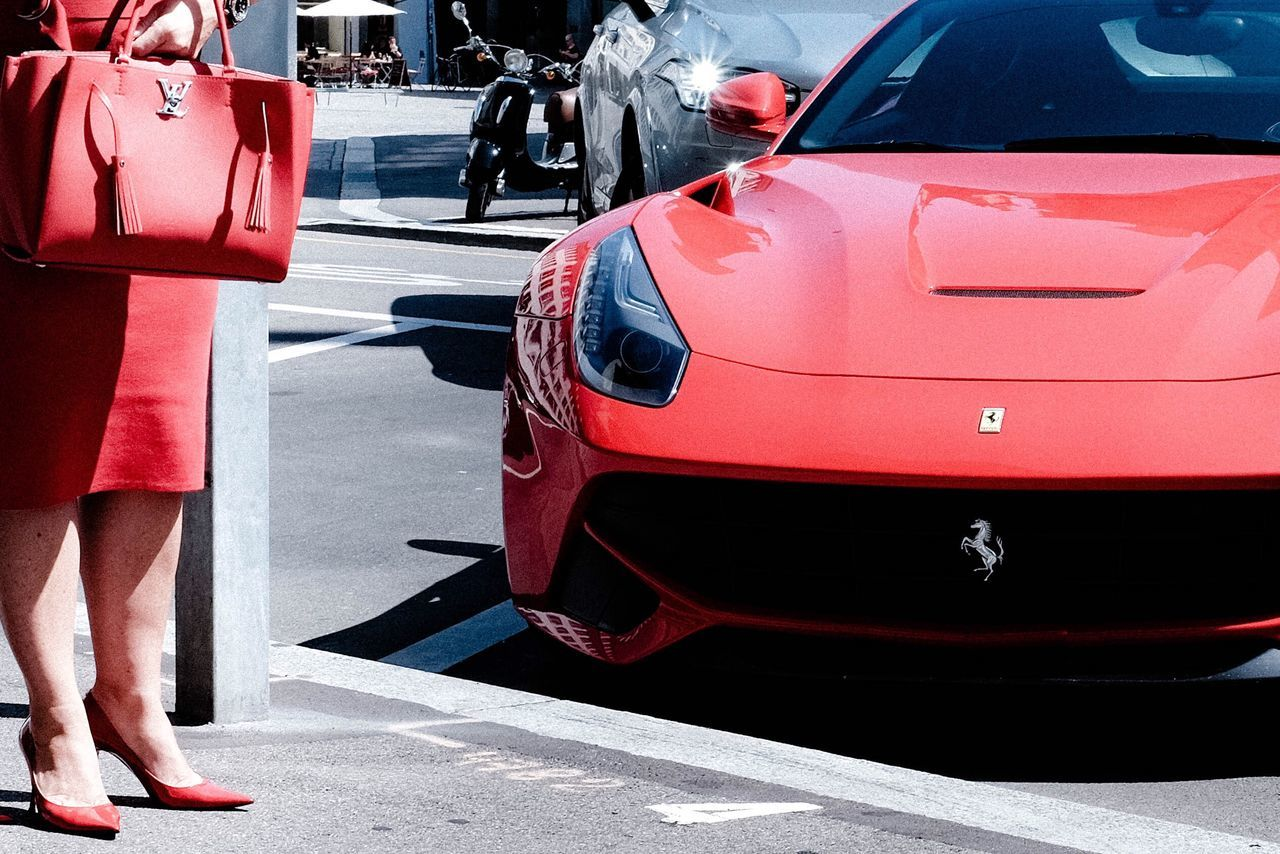 Red Car People One Person Adults Only Streetphotography Ferrari Woman Portrait