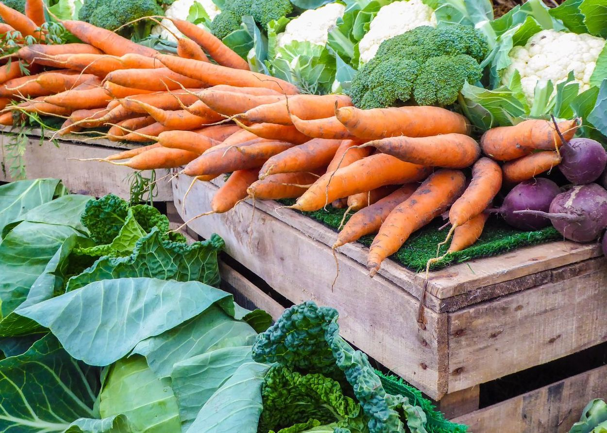 Vegetables Fresh Fresh Produce Cheshire Royal Cheshire County Show Market Market Stall Marketplace Market Place Carrots Broccoli Cabbages Cauliflower Green Orange Wood Wooden Wooden Box Food Live Love Shop