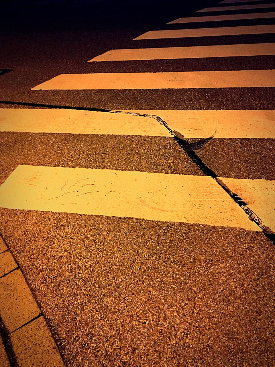 road marking, street, striped, asphalt, road, outdoors, transportation, day, yellow, full frame, no people, city