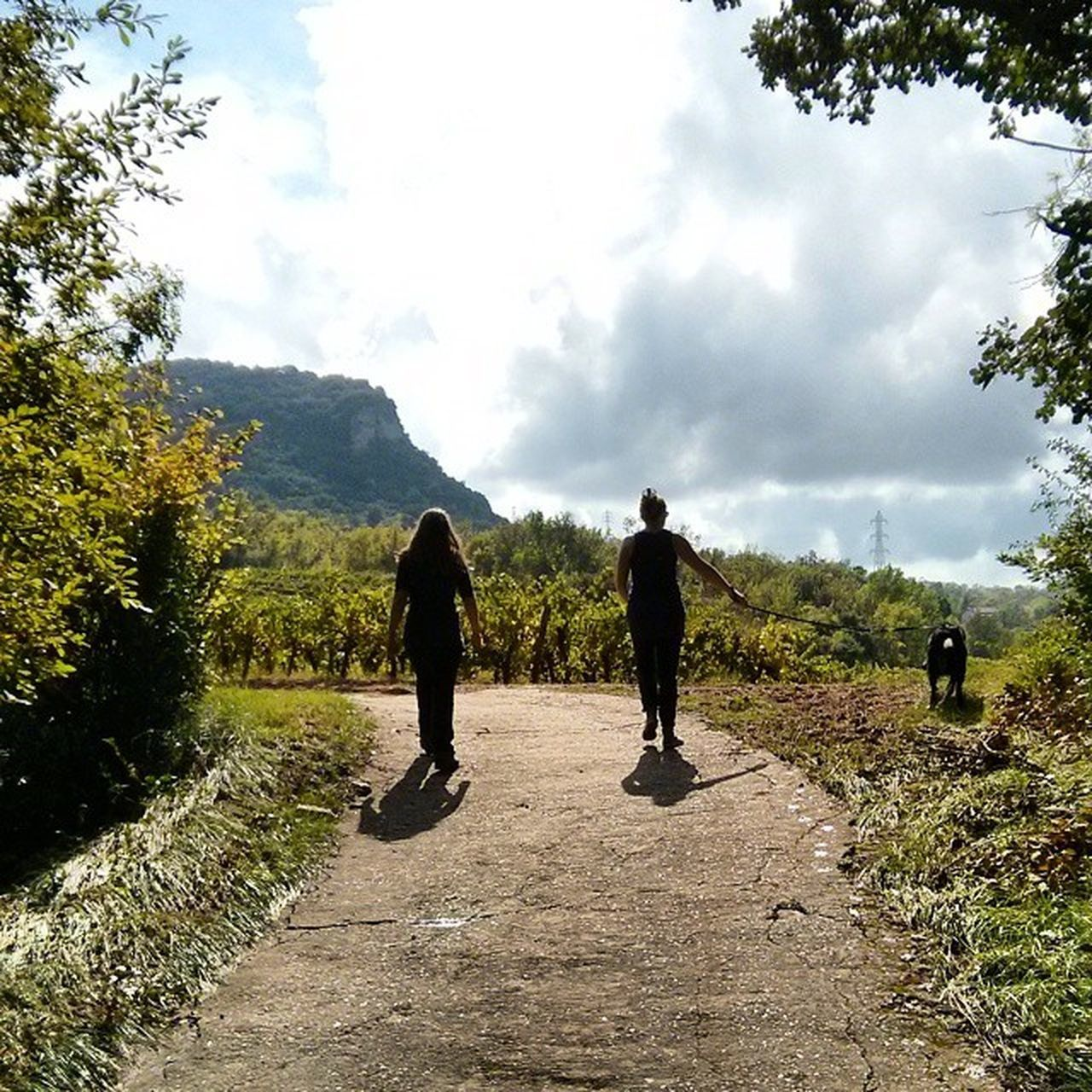 two people, full length, cloud - sky, real people, sky, nature, tree, walking, mountain, day, beauty in nature, rear view, men, outdoors, leisure activity, scenics, landscape, togetherness, lifestyles, tranquility, women, standing, growth, grass, people