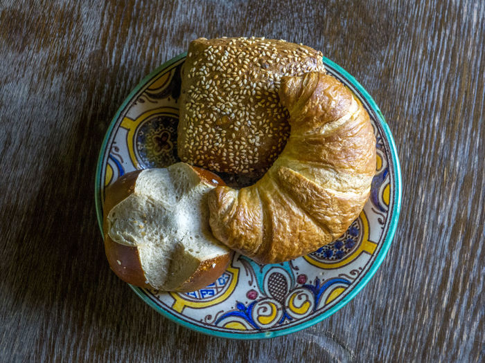 Bakery Bread Basket Bread Bun Bread Roll Breakfast Cheese Close-up Coffee Croissant Day Gold Colored High Angle View Indoors  Kitchen Table Kitchen Utensils Morning No People Sandwich Snack