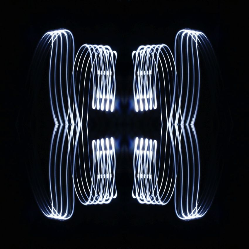 Black Background Symmetry Reflection Electricity  Long Exposure Pattern Motion No People Illuminated Technology Concentric Lighting Painting