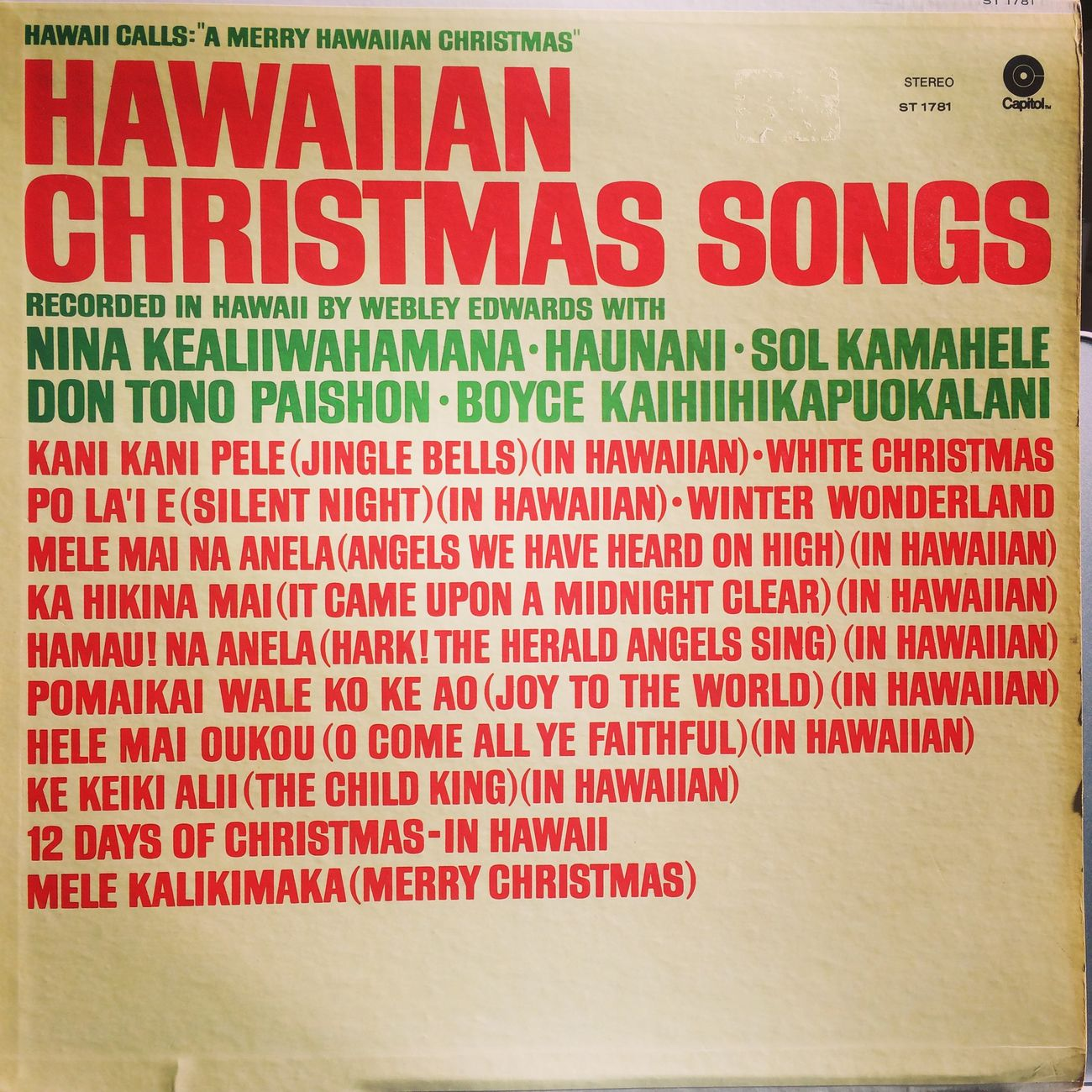 Enjoying Life Hawaiicalls Hawaiian Music Christmas Song Hawaii Calls Vinyl Analog Records