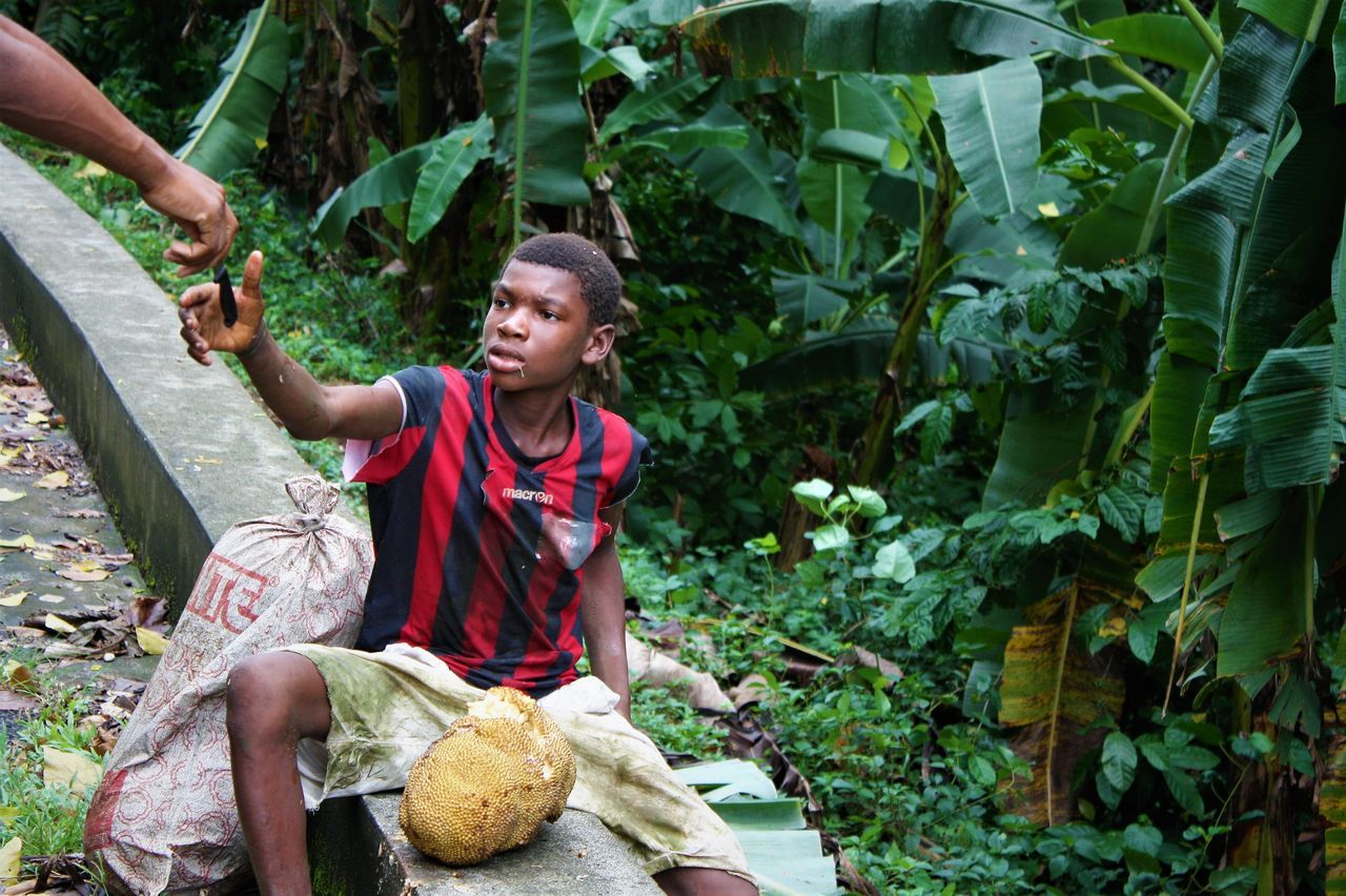 The people of Sao Tome have little but are very supportive of each other A hungry kid tried to open the fruit with his hands. Someone gave him a knife .... Adult Adults Only Day Food Holding Nature One Person One Woman Only Only Women Outdoors People Plant Real People Smiling Tree Women Young Adult The Photojournalist - 2017 EyeEm Awards The Street Photographer - 2017 EyeEm Awards The Street Photographer - 2017 EyeEm Awards