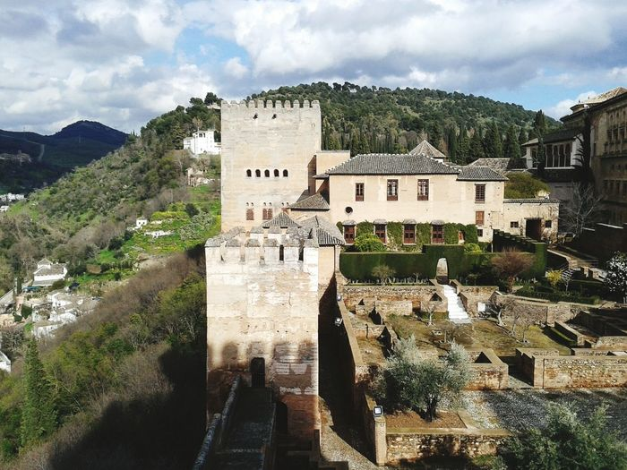 Alhambra of Granada high angle view Alhambra Ancient Arabic Architecture Building Exterior Culture Day Granada High Angle View History Old Outdoors Panorama Stone Wall Surrounding Wall The Past Toruis Toruist Tourism Travel
