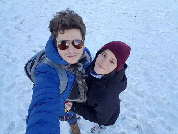 Two People Winter Togetherness Warm Clothing Child Looking At Camera Family Portrait Happiness Cold Temperature Baby Sunglasses Snow Males  Bonding People Knit Hat Leisure Activity Childhood Smiling