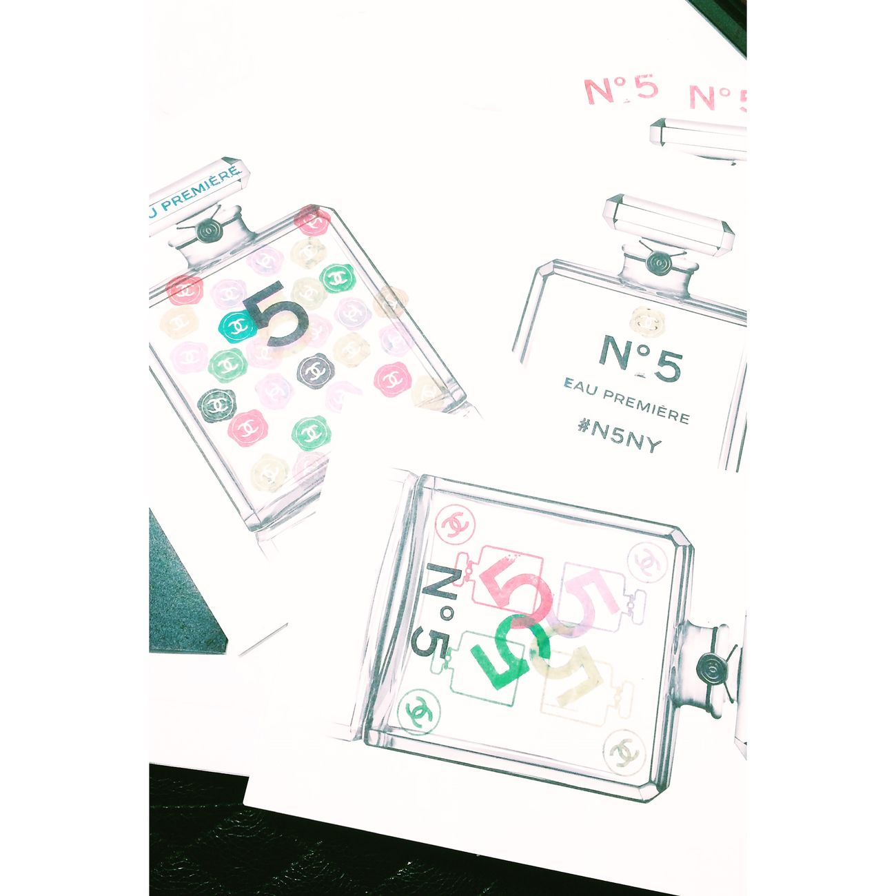My presentation of No 5 Chanel No.5 Perfume Postcard