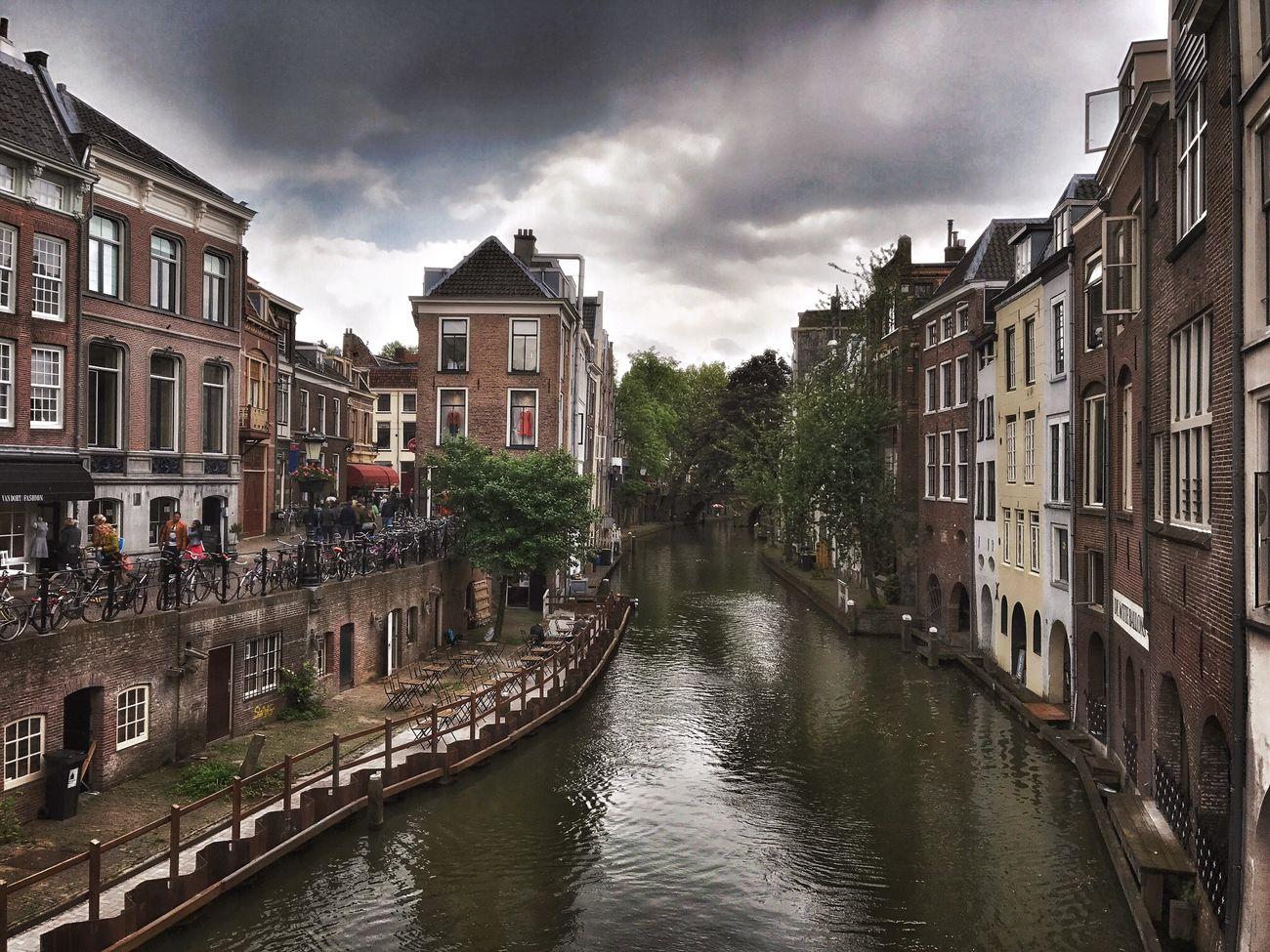 Utrecht Utrecht , Netherlands Oudegracht Canal Dutch Cities Cloud - Sky Dutch Architecture Water Bridge Old Buildings Houses