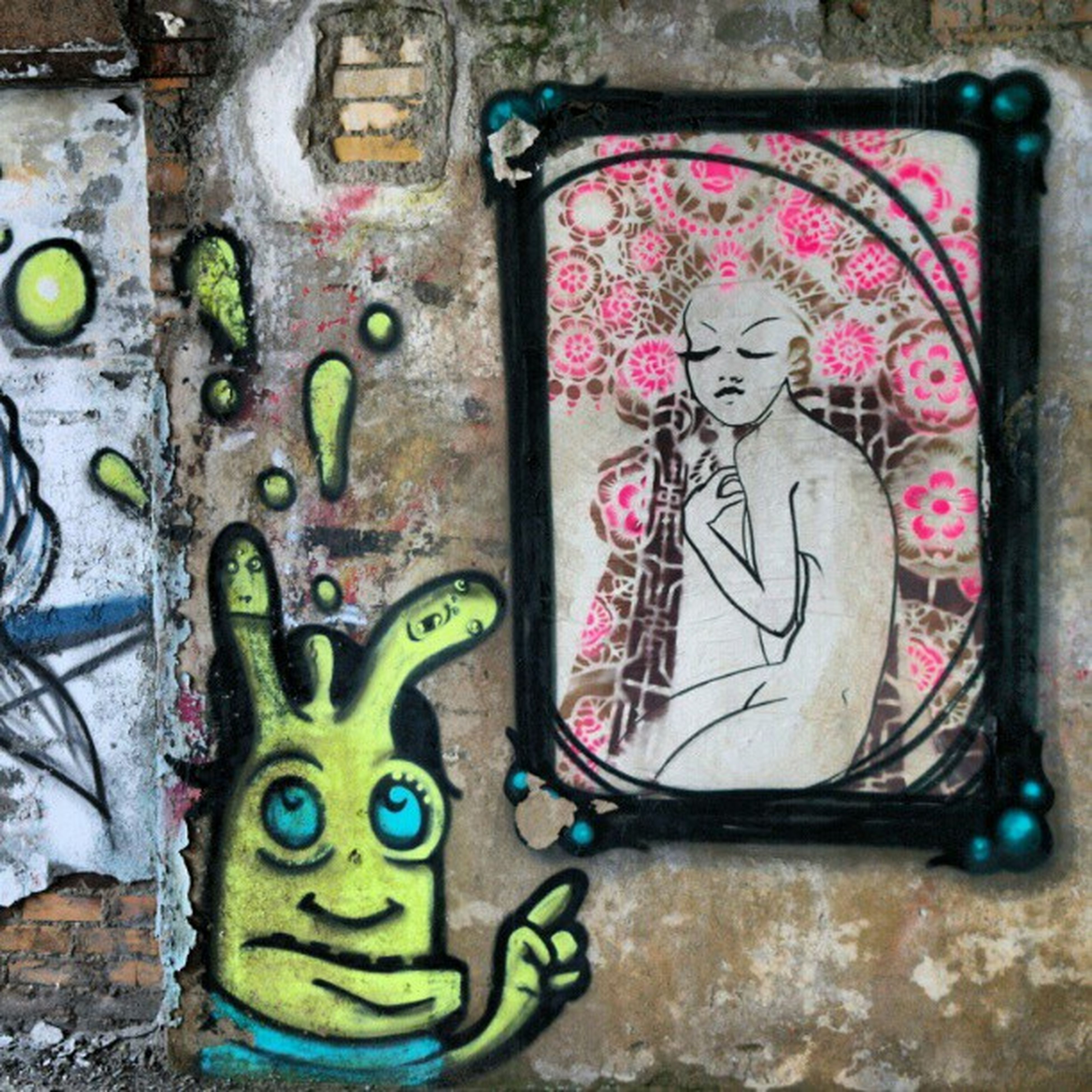 art, art and craft, creativity, graffiti, wall - building feature, multi colored, built structure, human representation, architecture, wall, close-up, street art, design, old, pattern, no people, day, weathered, mural, animal representation
