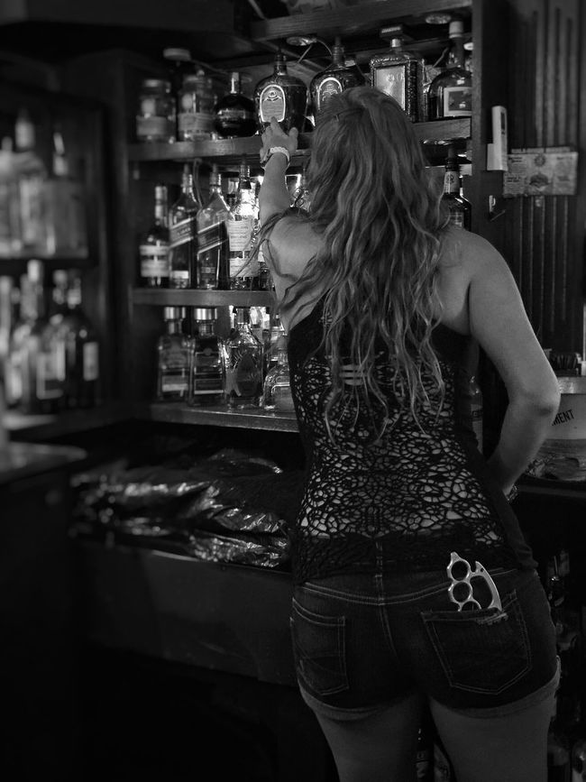 Black lace & Knuckle busters Knuckleduster Tough Chick Toughgirl Tough Girl Barmaid BikerGirl Biker Bars Young Woman Showcase June