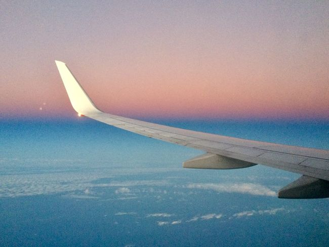 The beauty of flying Horizon Pink And Blue Airplane Journey Transportation Aerial View Airplane Wing Aircraft Wing Sky Travel