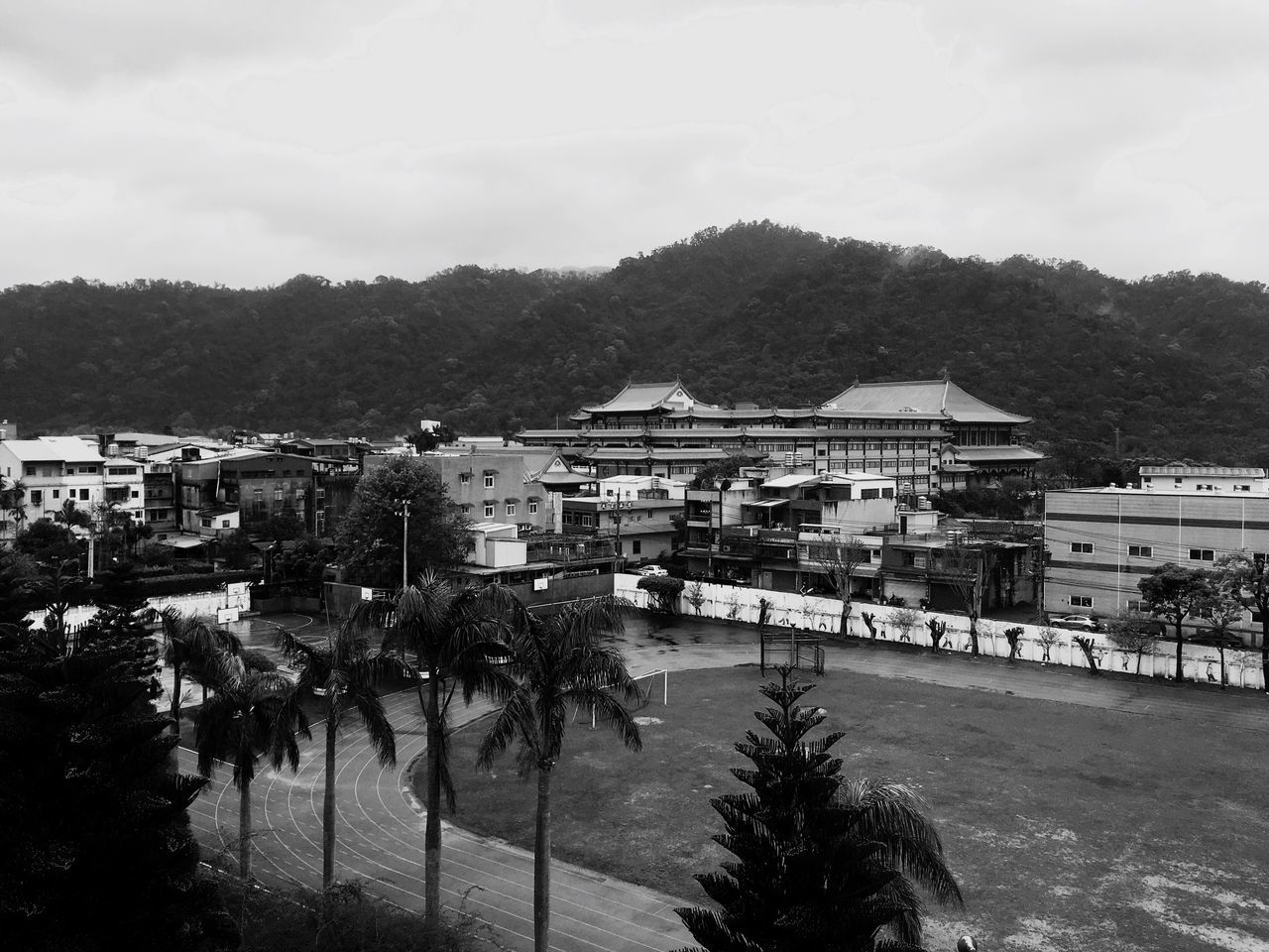 High school 。 EyeEm Gallery EyeEm Best Shots - Black + White The Tourist Taking Photos Hello World Everything In Its Place Tree Mountain View Temple School Sanxia
