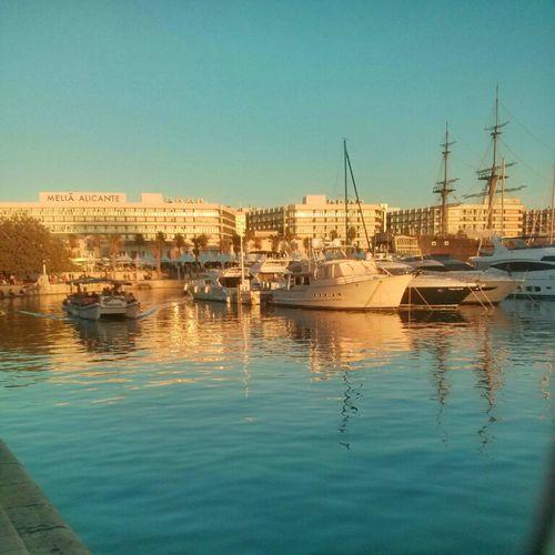 Atardecer en el puerto de Alicante, Spain Water Reflection Nautical Vessel Harbor Sailing Ship Yacht