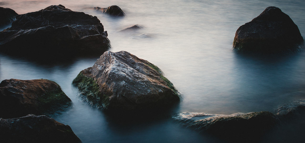 Beauty In Nature Day Long Exposure Minimal Photography Mountain Mountain Rock Nature No People Outdoors Rock - Object Scenics Sea Sky Tranquil Scene Tranquility Water