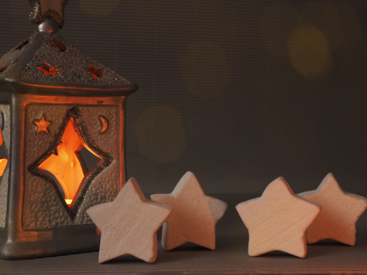 Romantic Christmas background Burning Candle Light Candles Christmas Close-up Day Flame Indoors  No People Stars Table